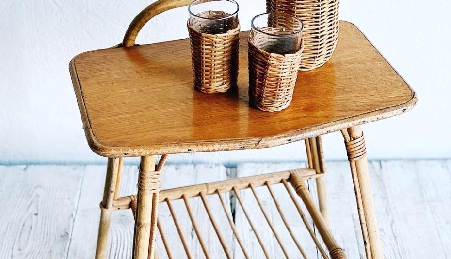 furniture kursi dan gelas bambu
