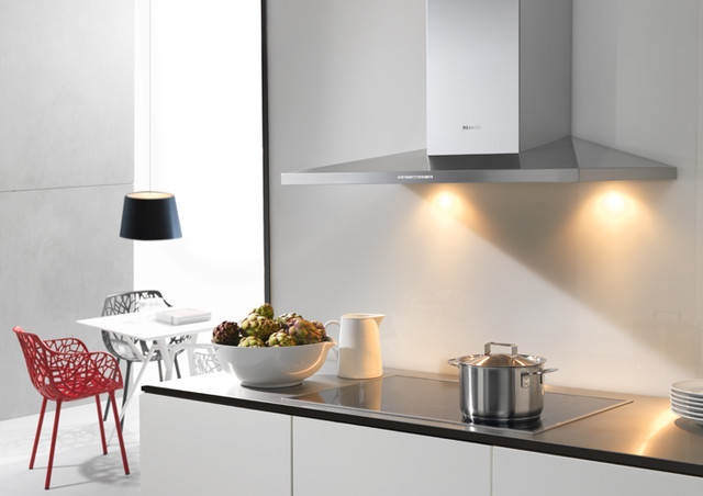Open kitchen at home with cooker hood