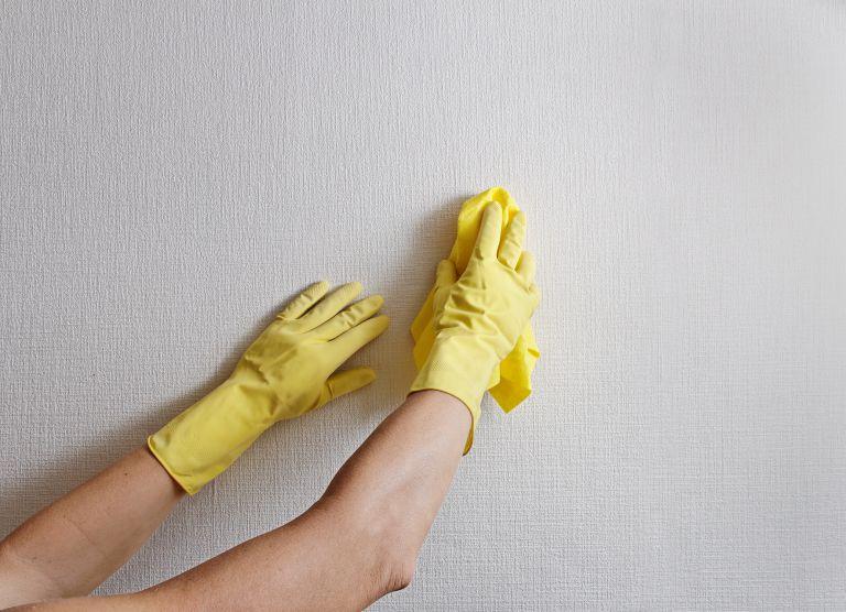 bersihkan dinding dengan lap basah
