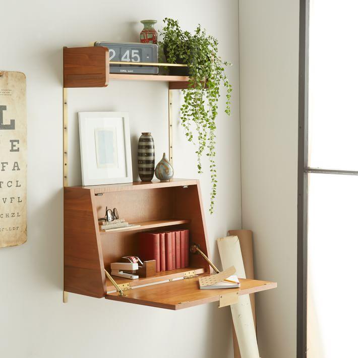 Meja lipat untuk belajar dengan tanaman