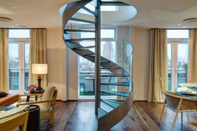 desain tangga logam minimalis putar