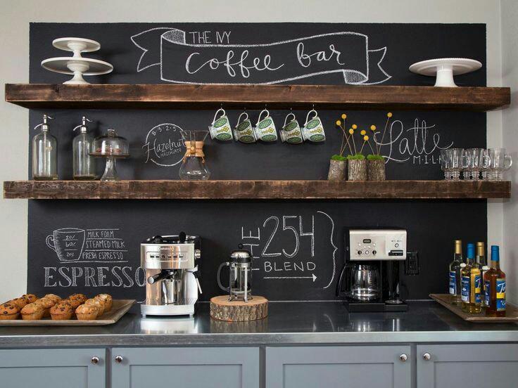 Dinding chalkboard dapur modern