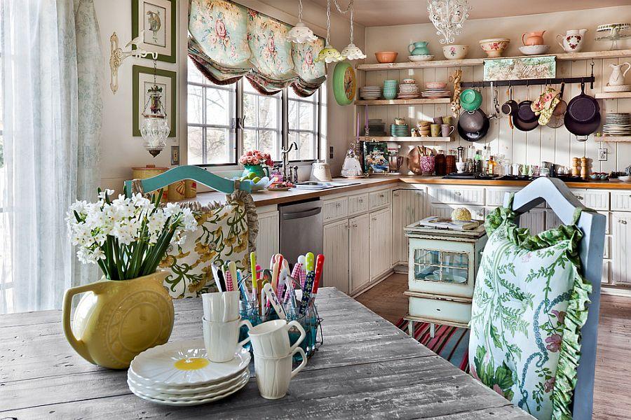 Tak lengkap tanpa kehadiran pattern pada desain dapur shabby chic