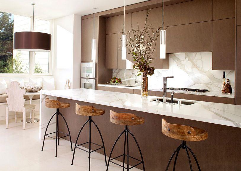 Top table dengan material solid surface untuk dapur modern