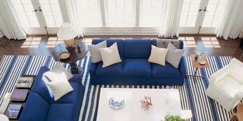 Motif garis-garis putih biru gaya nautical