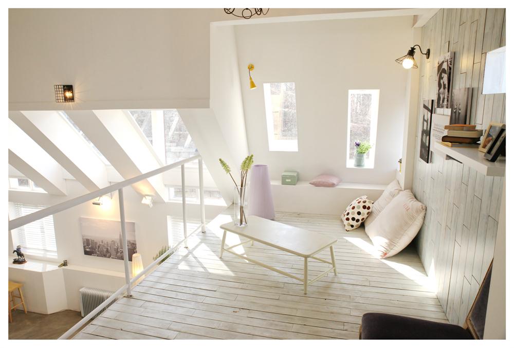 Banyak menggunakan material kayu ide desain apartemen korea