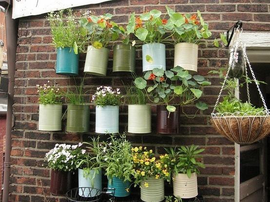 Pot bunga dari kaleng bekas