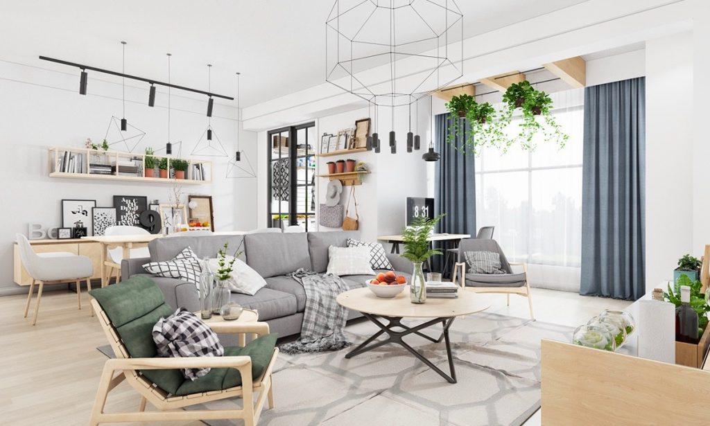 ruang tamu minimalis putih